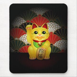 Maneki de cerámica amarillo Neko Mousepads