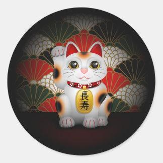 Maneki de cerámica blanco Neko Pegatina Redonda
