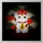 Maneki de cerámica blanco Neko Poster