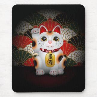 Maneki de cerámica blanco Neko Tapete De Ratón