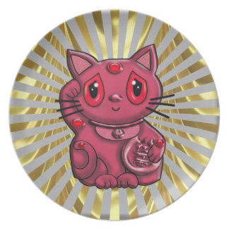 Maneki Good Luck Cat by Dreamlyn Dinner Plate