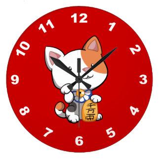 Maneki lindo Neko (gato que tienta afortunado) Reloj Redondo Grande