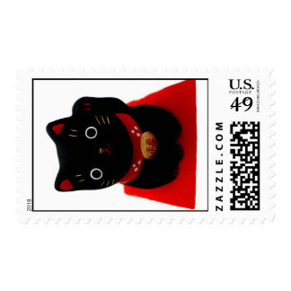 Maneki negro Neko en una alfombra roja Sellos Postales