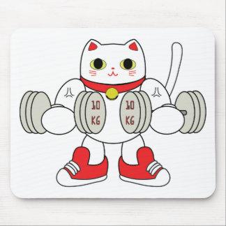 Maneki Neko Bicep Curl Mouse Pad