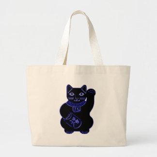 maneki neko blue neon canvas bags