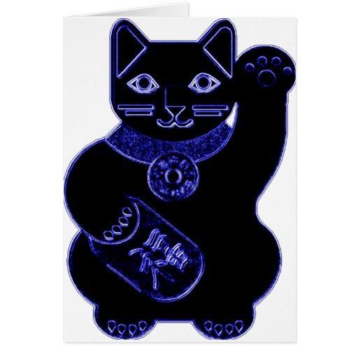 maneki neko blue neon greeting card