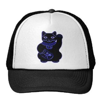maneki neko blue neon trucker hat