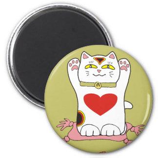 Maneki Neko Calico Cat with Hearts 2 Inch Round Magnet