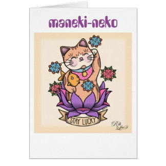 maneki-neko card (lucky cat)