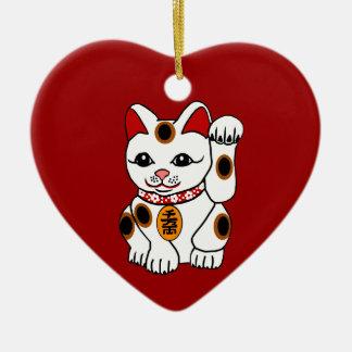 Maneki Neko Cat on Red Background Ceramic Ornament