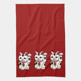 Maneki Neko Cat on Red Background Towel