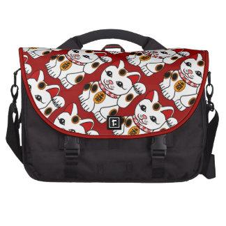 Maneki Neko Cat on Red Background Laptop Bags