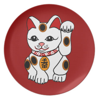 Maneki Neko Cat on Red Background Melamine Plate