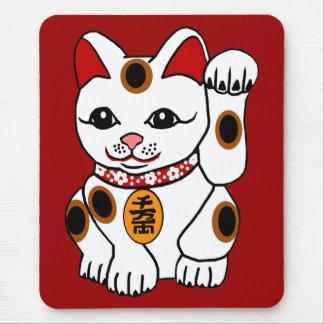 Maneki Neko Cat on Red Background Mouse Pad