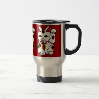 Maneki Neko Cat on Red Background Coffee Mug