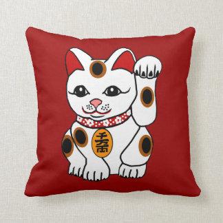Maneki Neko Cat on Red Background Pillows