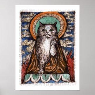 Maneki Neko Cat Poster - Buddha Cat