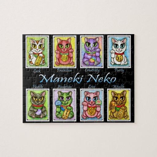 Maneki Neko Cats Lucky Cat Fantasy Art Puzzle