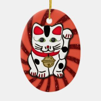 maneki neko ceramic ornament