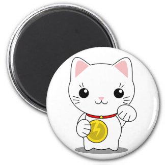 Maneki Neko - gato afortunado blanco Imán Redondo 5 Cm