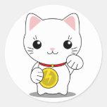 Maneki Neko - gato afortunado blanco Etiquetas Redondas