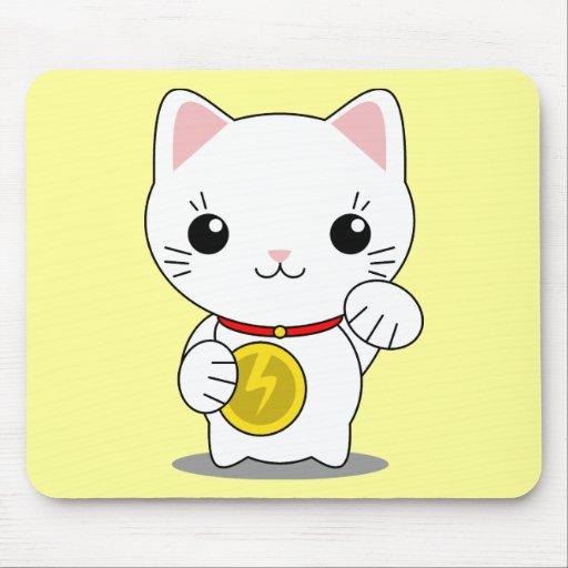 Maneki Neko - gato afortunado blanco Tapete De Raton
