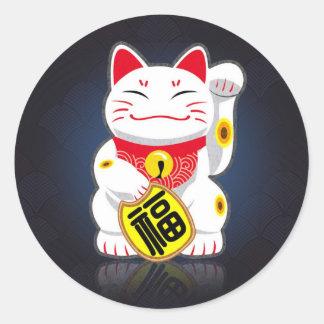 Maneki-neko - gato afortunado japonés pegatina redonda