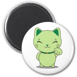 Maneki Neko - gato afortunado verde Imán Redondo 5 Cm