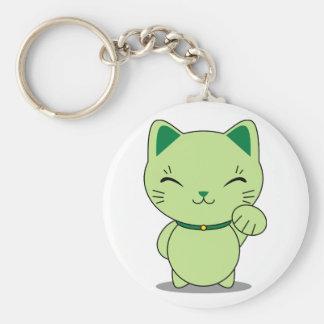 Maneki Neko - gato afortunado verde Llavero Redondo Tipo Pin