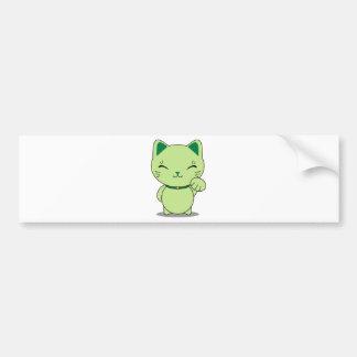 Maneki Neko - gato afortunado verde Pegatina Para Auto