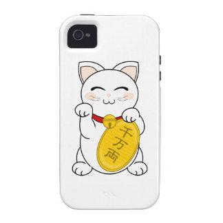 Maneki Neko - gato de la buena fortuna Case-Mate iPhone 4 Fundas