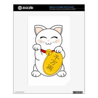 Maneki Neko - gato de la buena fortuna Calcomanía Para NOOK Color