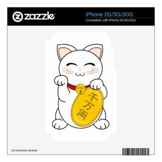 Maneki Neko - gato de la buena fortuna Calcomanía Para El iPhone 3G