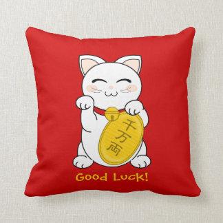 Maneki Neko - Good Fortune Cat Throw Pillow
