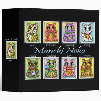 Maneki Neko Good Luck Cat Fantasy Art Avery Binder