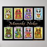 Maneki Neko Good Luck Cats Fantasy Cat Art Poster