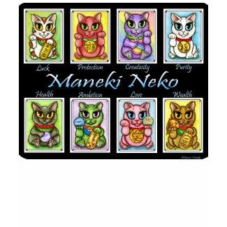 Maneki Neko Good Luck Cats Fantasy Cat Art T-Shirt shirt