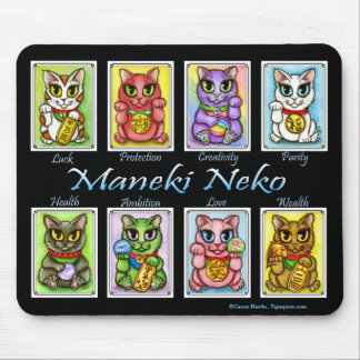 Maneki Neko Good Luck Cats Fantasy Cat Mousepad