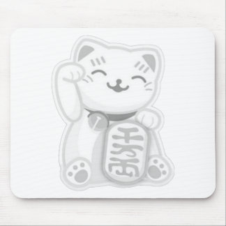maneki neko gray mouse pad