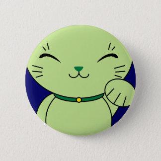 Maneki Neko - Green Lucky Cat Button