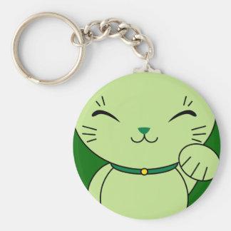 Maneki Neko - Green Lucky Cat Keychain