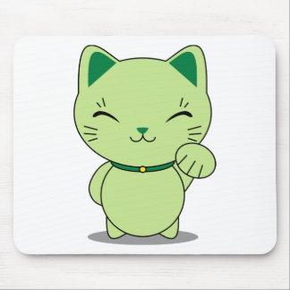 Maneki Neko - Green Lucky Cat Mouse Pad