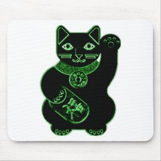 maneki neko green neon mouse pad