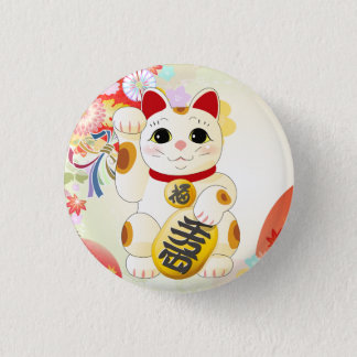 Maneki Neko Japanese Fortune Cat Pinback Button