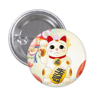 Maneki Neko Japanese Fortune Cat Pinback Button