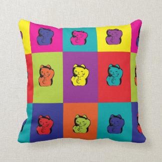 Maneki Neko Kitty Cat Pop Art Throw Pillow