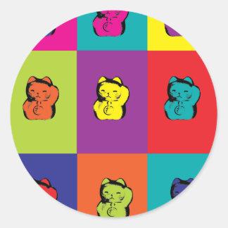 Maneki Neko Kitty Pop Art Classic Round Sticker