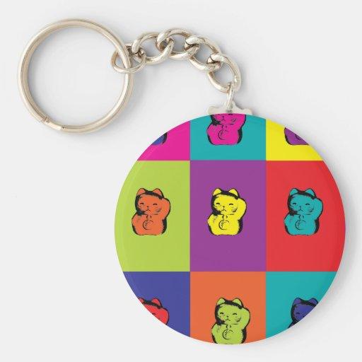 Maneki Neko Kitty Pop Art Keychain