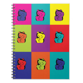 Maneki Neko Kitty Pop Art Spiral Notebook
