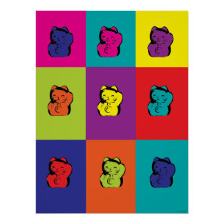Maneki Neko kitty rainbow poster